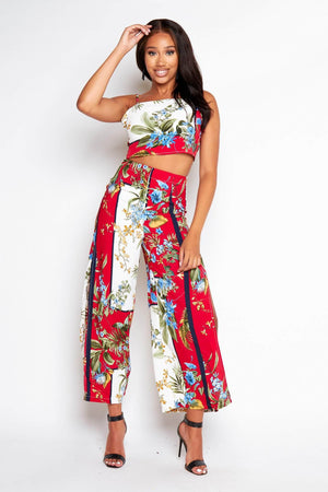 Red Floral Split Trouser & Cami Top Co-ord