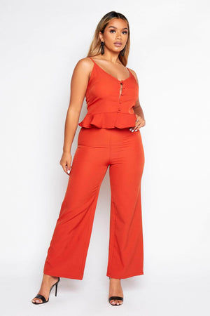 Rust High Waist Wide Trousers & Cami Top Co-ord