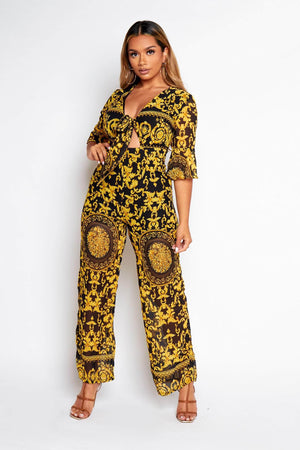 Black & Yellow Paisley Printed Front Tie Jumpsuit