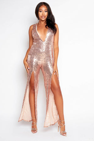 Rose Gold Sequin Plunge Split Jumpsuit