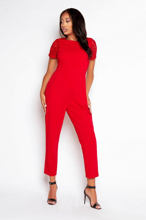 Red Contrast Crochet Jumpsuit