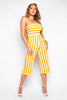 Orange Stripe Bandeau Culotte Jumpsuit