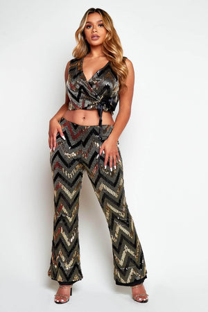 Gold Sequin Wrap Top & Flare Trouser Co-ord