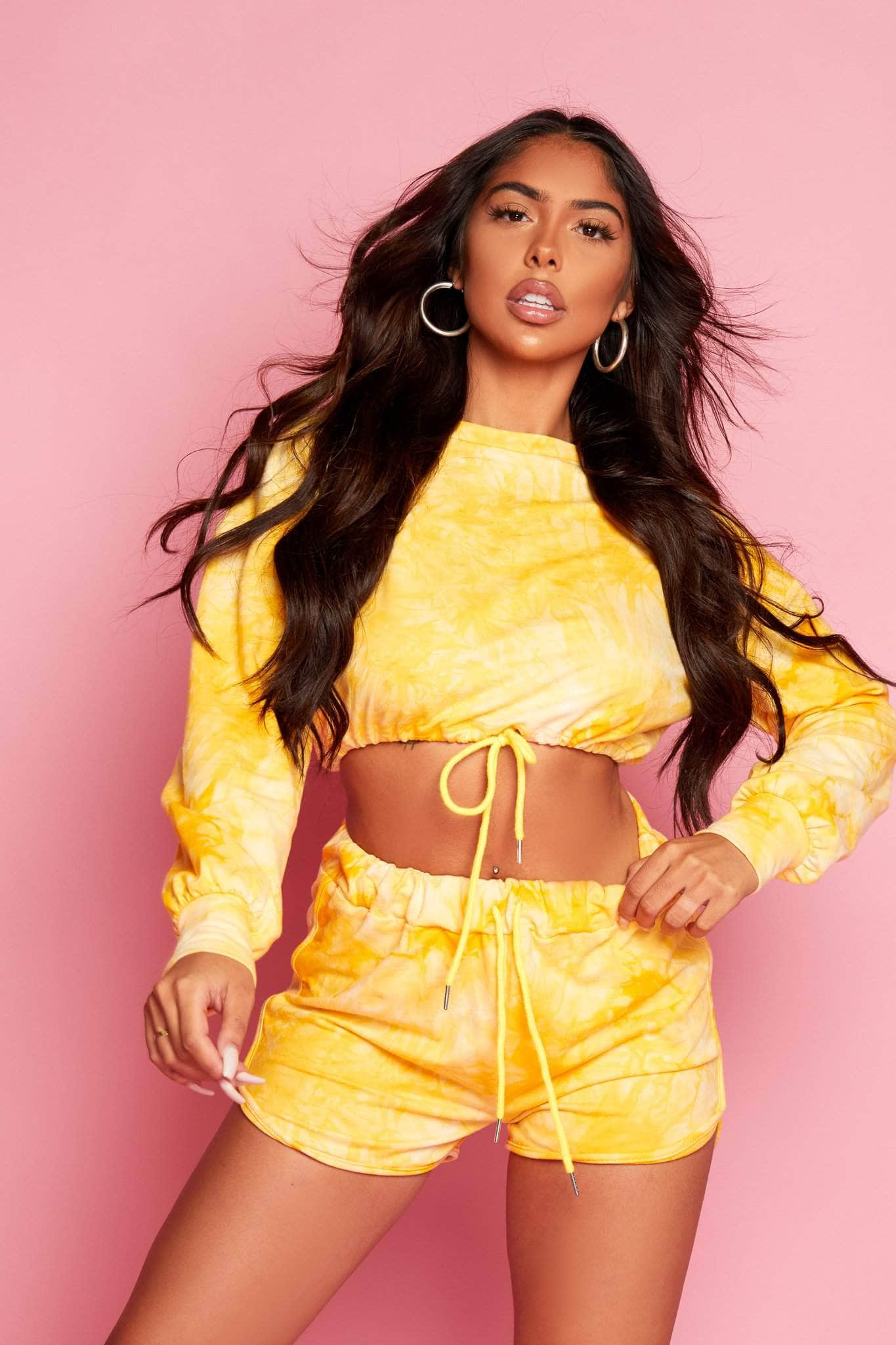 Yellow Tie Dye Cropped Sweater & Shorts Co-ord