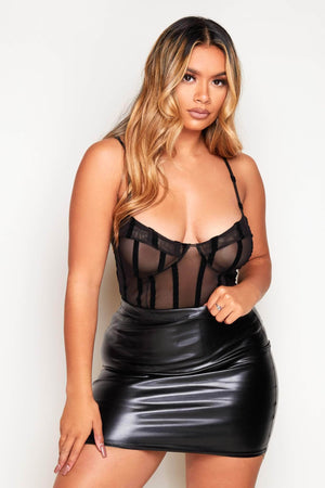 Black Shape Mesh Stripe Bodysuit