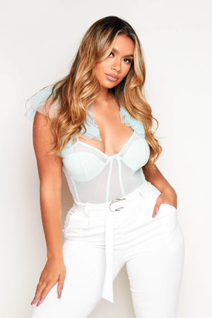 Mint Green Sheer Mesh Ruffle Bodysuit
