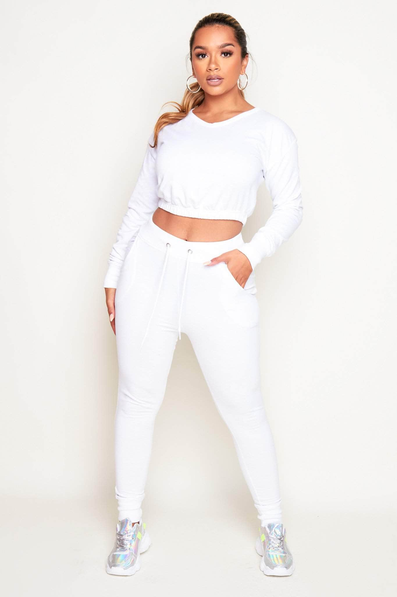 White V Neck Cropped Jumper & Joggers Loungeset