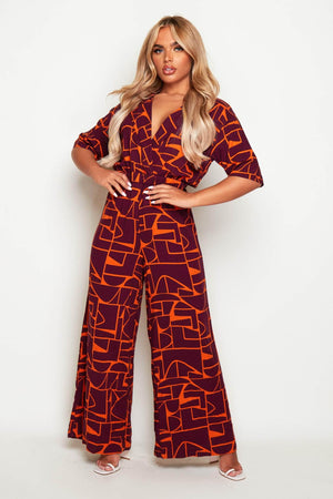 Purple & Orange Wrap Wide Leg Jumpsuit