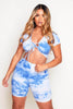 Blue Tie Dye Ribbed Crop Top & Shorts Loungeset