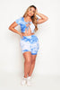 Blue Tie Dye Ribbed Laced Crop Top & Shorts Loungeset
