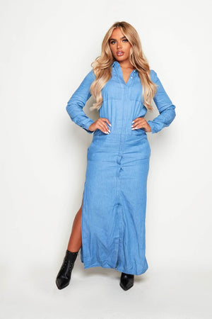 Light Wash Denim Maxi Split Shirt Dress