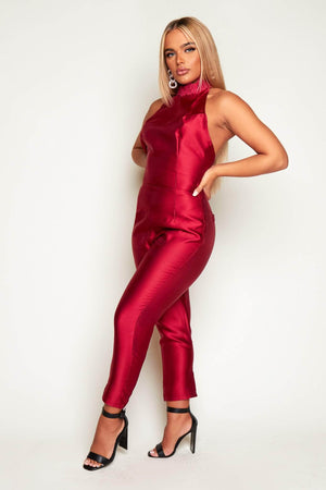 Wine Satin Halter Neck Straight Leg Jumpsuit