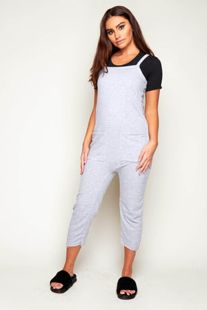 Grey Jersey Pocket Lounge Jumpsuit