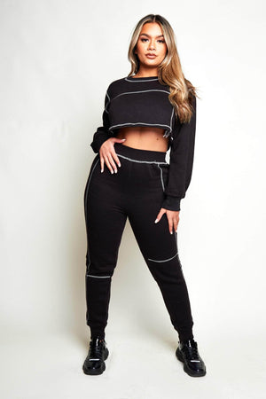 Black Contrast Stitch Crop Sweater & Joggers Co-ord