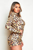 Leopard Printed Slinky Shoulder Pad Playsuit