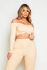 Beige Ribbed Wrap Crop Top & Leggings Co-ord