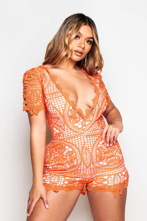 Orange Crochet Plunge Playsuit