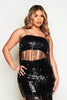 Black Sequin Bandeau Tassel Top & Skirt Co-ord