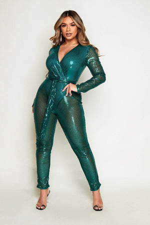 Emerald Green Sequin Long Sleeve Plunge Jumpsuit