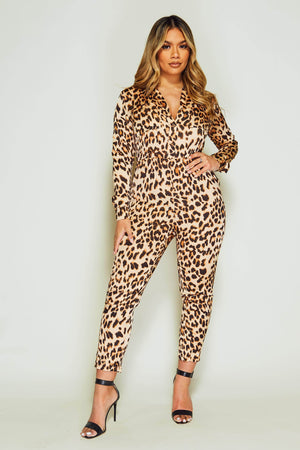 Leopard Printed Satin Jumpsuit