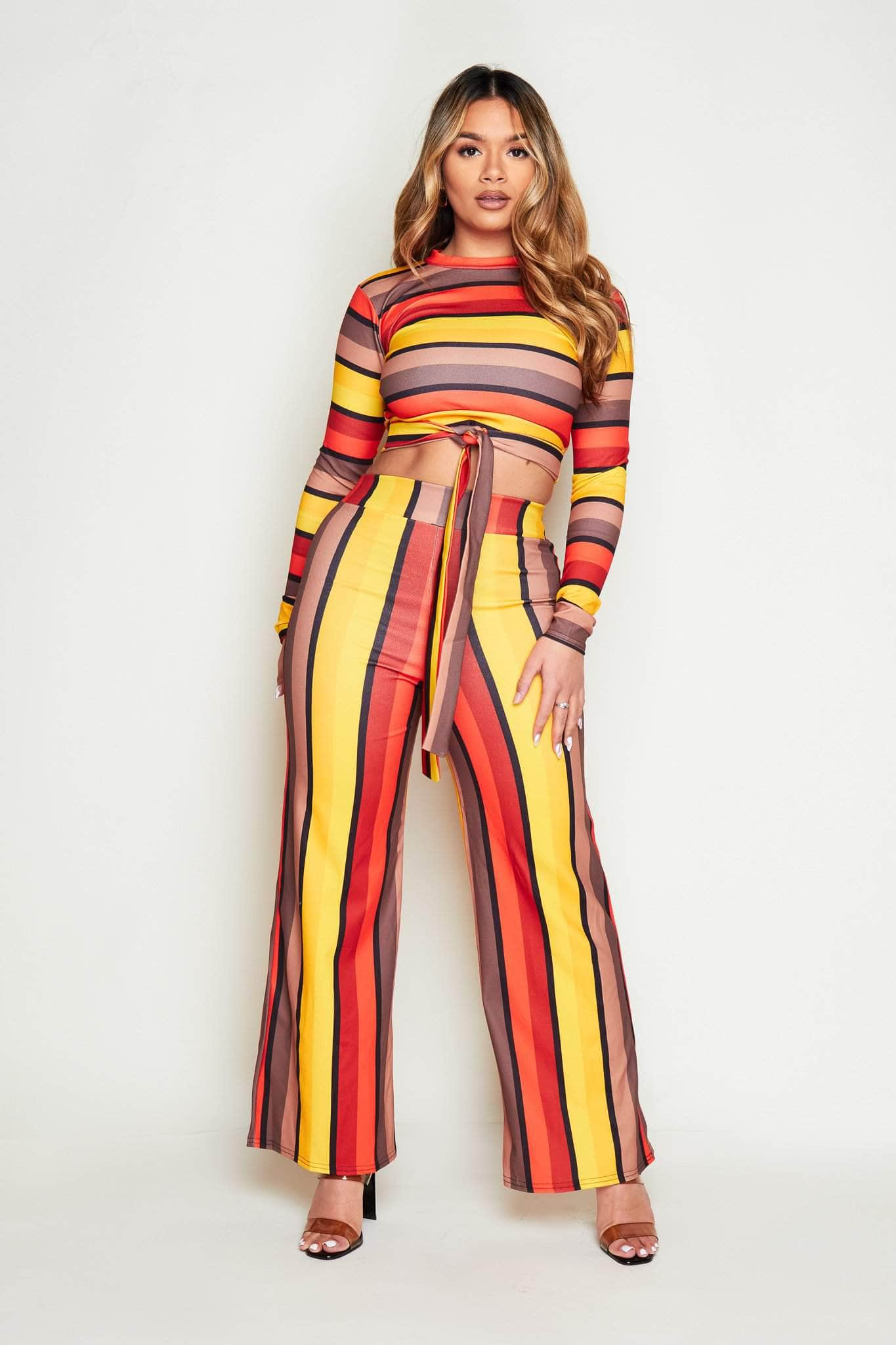 Multi Stripe Crop Top & Wide Trousers Co-ord