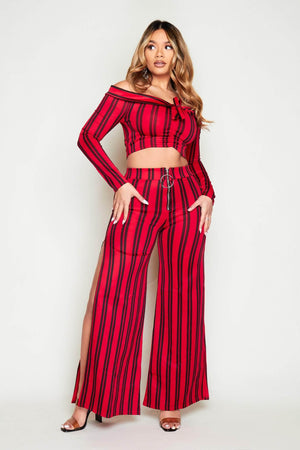 Red Stripe Bardot Crop Top & Wide Leg Trousers Co-ords