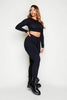 Black Ribbed Crop Top & Leggings Loungeset