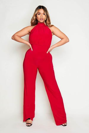 Red Slinky Halter Neck Jumpsuit