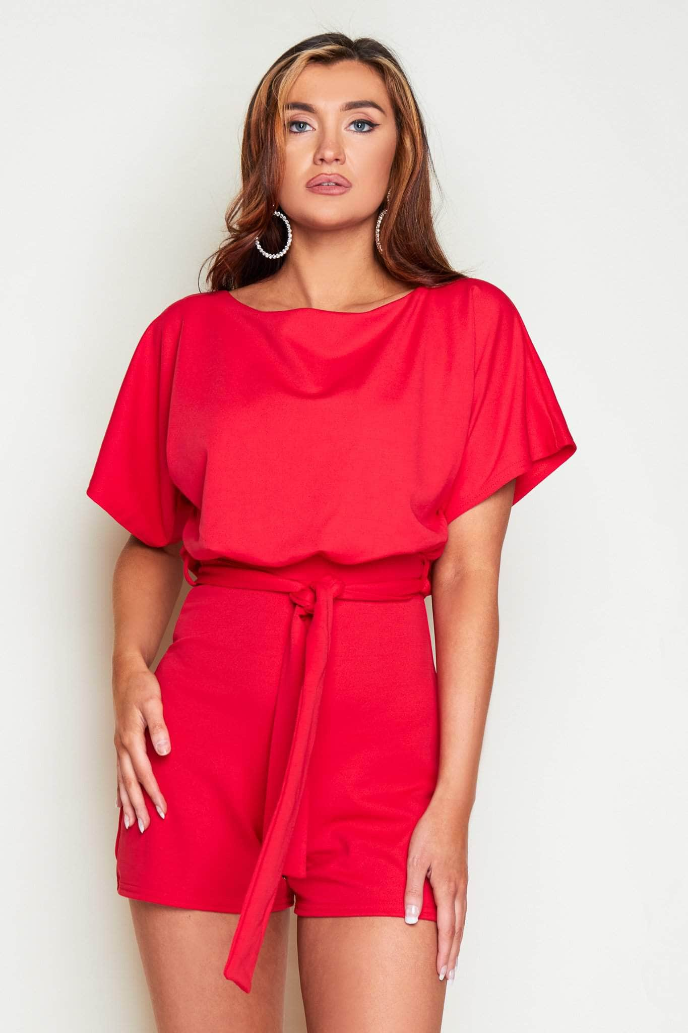 Red Tie Waist Playsuit
