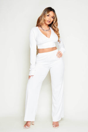 White Ribbed V Neck Crop Top & Wide Leg Trousers Co-ord