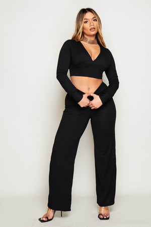 Black Ribbed V Neck Crop Top & Wide Leg Trousers Co-ord