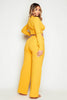 Mustard Ribbed V Neck Crop Top & Wide Leg Trousers Co-ord
