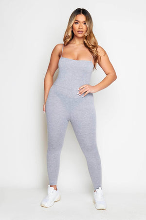Grey Jersey Square Neck Jumpsuit