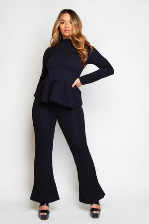 Black Peplum Top & Wide Trousers Co-ord