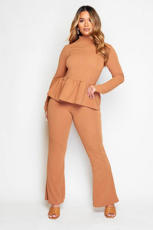 Camel Peplum Top & Wide Trousers Co-ord