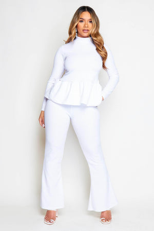 White Peplum Top & Wide Trousers Co-ord