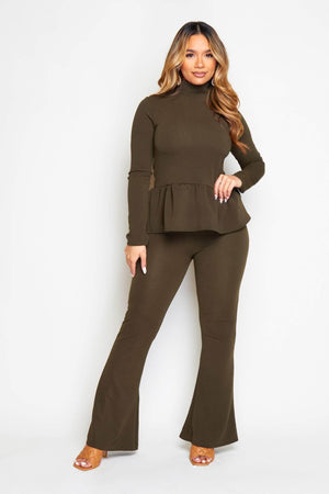 Khaki Peplum Top & Wide Trousers Co-ord