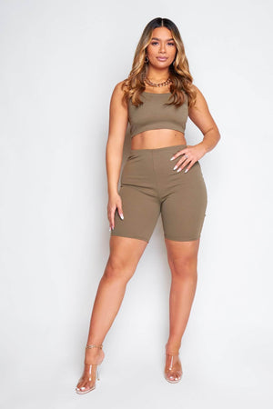 Khaki Green Seamless Cycling Shorts