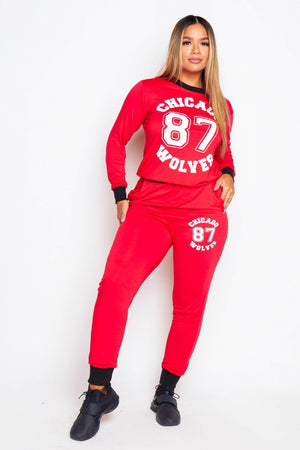 Red Jersey Chicago Printed Top & Joggers Set
