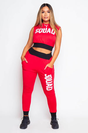 Red Sleeveless Squad Hoodie & Joggers Loungeset