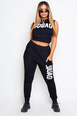 Black Sleeveless Squad Hoodie & Joggers Loungeset
