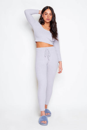 Grey Brushed Fleece Crop Jumper & Joggers Co-ord