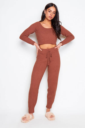 Brown Brushed Fleece Crop Jumper & Joggers Co-ord