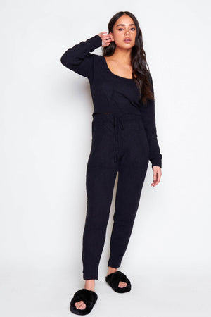 Black Brushed Fleece Crop Jumper & Joggers Co-ord