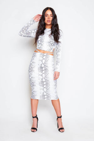 White Snake Tie Back Crop Top & Midi Skirt Co-ord