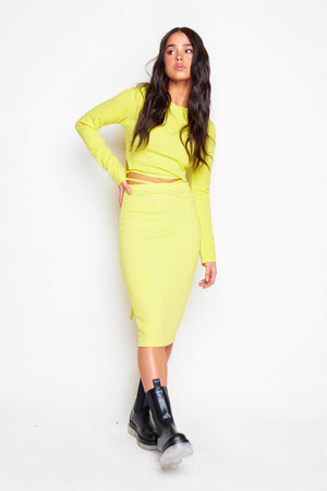 Neon Green Tie Back Crop Top & Midi Skirt Co-ord