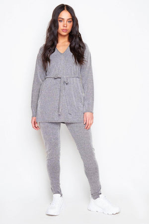 Grey Ribbed Belted Long Split Top & Joggers Co-ord