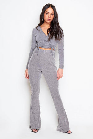 Grey Ribbed Wrap Crop Top & Joggers Co-ord