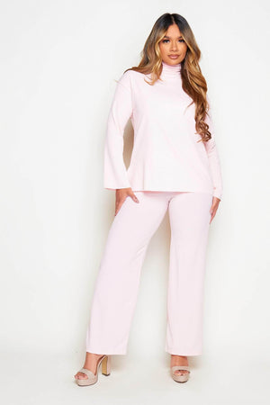 Pink Ribbed Roll Neck Top & Wide Trouser Co-ord