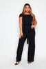 Tall Black Belted Ruffle Culottes Jumpsuit